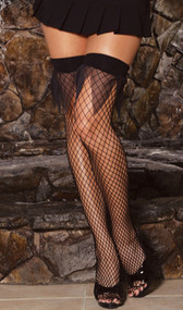 Industrial net thigh high stockings with sheer jagged top detail.