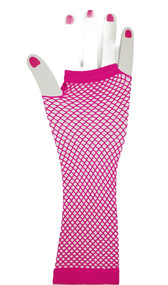 Mid arm length fishnet fingerless gloves. Gloves have one big hole for the first 3 fingers and a separate hole for the pinky finger. Thumb also has a separate hole.