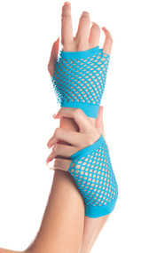 Wrist length fishnet fingerless gloves. Gloves have one big hole for the first 3 fingers and a separate hole for the pinky finger. Thumb also has a separate hole.