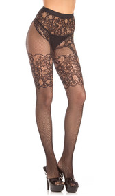 Crotchless fishnet pantyhose with lace faux garter belt design.