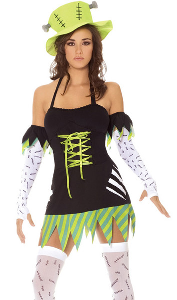 Monster Mistress costume includes halter dress with lace up bodice, gloves, arm bands, thigh high stockings and hat. Five piece set.