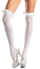 Sheer thigh high stockings with garter lace ruffle top.