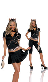 Feisty Feline cat costume includes: hoodie with cat ears, capris, skirt, detachable tail, collar and mouse purse. Six piece set. Can be worn two different ways.