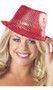 """Sequin fedora hat with band. Circumference of the head opening measures approximately 21-1/2"""". Hat stands 5-1/2"""" tall."""