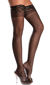 Spandex sheer thigh highs with silicone stay up lace top.