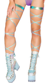 Iridescent foil leg wraps with attached garter. 2 per package.