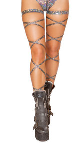 """Broken glass leg wraps with attached garter. 2 per package. 100"""" long. Wrap parts measure 3/8"""" wide, garters measure 1"""" wide."""