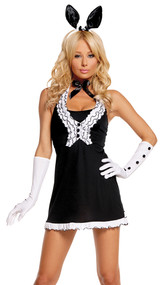 Black Tie Bunny costume includes dress, vest, gloves, neck piece and bunny ears head band. 5 piece set.