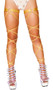 """Shimmer leg wrap with attached garter and o ring detail. 100"""" long. 2 per package. Wrap parts measure 3/8"""" wide, garters measure 1"""" wide."""