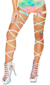 """Velvet tie dye leg wraps with attached garter and o ring detail. 2 per package. 100"""" long. Wrap parts measure 3/8"""" wide, garters measure 1"""" wide."""