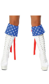 Star pattern boot toppers with lace up back.