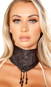 Lace choker with lace up detail and dangling beads. Back hook and loop closure. Inside is lined with satin.
