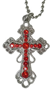 """Cross pendant necklace on ball chain. Hangs about 13"""" long. Pendant is about 1-3/8"""" wide x 2"""" high."""