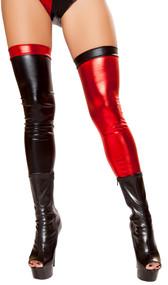 Thigh high metallic leggings.
