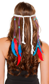 Wrap around braided headband featuring bead and feather accents.