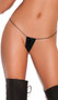 Vinyl micro mini G-string with elastic back.