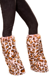 Pink leopard print fuzzy legwarmers with elastic top. Pair.