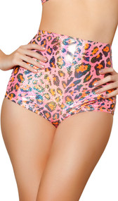 Pink leopard high waisted shorts featuring metallic shiny dots and back zipper closure. Inside is unlined.