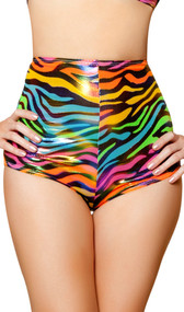 Rainbow zebra high waisted shorts featuring metallic shiny dots and back zipper closure. Inside is unlined.