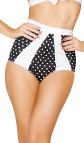 Polka dot high waisted pinup style shorts with contrast trim. Crotch area is lined.