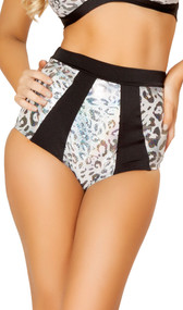 Silver leopard two tone high waisted banded shorts with metallic shiny dots. Crotch area is lined.