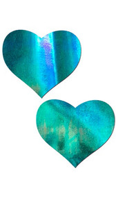 Self adhesive heart shaped pasties with iridescent dot finish. Latex free and waterproof. Two per package.