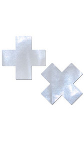 Self adhesive criss cross shaped pasties with iridescent dot finish. Latex free and waterproof. Two per package.