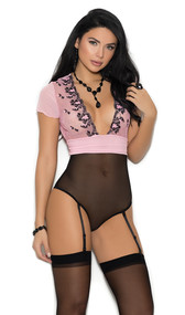 Mesh teddiette features a empire waist, embroidered plunging deep v neckline, shorts sleeves and adjustable and detachable garters.