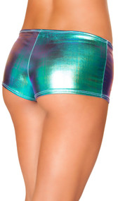 Multi color lamé metallic shorts. Color changes as light reflection changes.