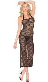 Floral lace gown with halter neck satin ribbon tie, lace up back detailing, and back slit. G-string included. Two piece set.