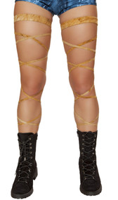 "Suede leg wraps with attached garter. 2 per package. 100"" long. Wrap parts measure 3/8"" wide, garters measure 1"" wide."