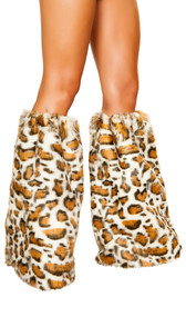 Leopard print fuzzy legwarmers with elastic top. Pair.