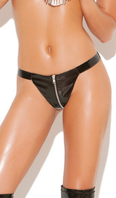 Zip up vinyl thong with Lycra back for a snug fit.