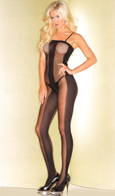 Sheer and opaque crotchless bodystocking with adjustable straps and wide striped design. Thong not included.