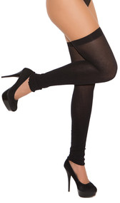 Opaque thigh high leg warmers.