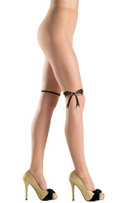 Pantyhose with bow design above the knee.