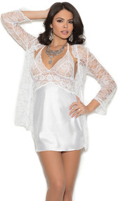 Charmeuse chemise with lace bodice and halter neck. Lace three quarter sleeve jacket included. Two piece set.