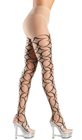 Abstract pattern tights. G-string sold separately.