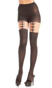 Opaque pantyhose with faux thigh high design and faux bow garter strap details.