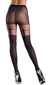 Sheer pantyhose with shadow cross design.