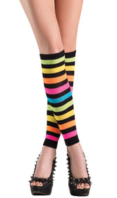 Knee high footless rainbow striped leggings.