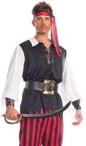 Risky Raider pirate costume includes long sleeve shirt with lace up detail, striped pants, belt with oversized buckle, wristbands, and bandana. Five piece set.