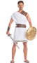 Mighty Mercenary costume includes toga with faux leather straps and gold pattern trim, matching belt, and wristbands. Three piece set.