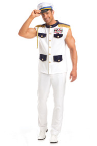 Scintillating Sea Captain costume includes sleeveless uniform shirt and ribbon bars. Two piece set. Pants not included.