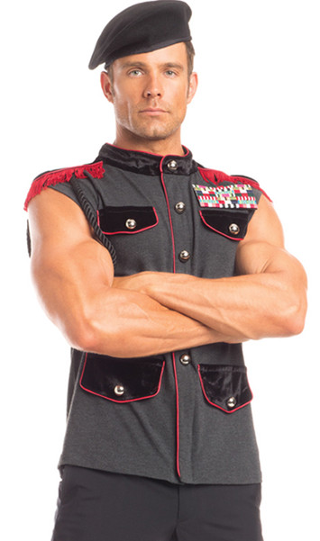 Outstanding Officer costume includes sleeveless uniform dress shirt with faux button detail, velvet mock collar, hidden zipper front and detachable fringe epaulettes with shoulder cord. Ribbon bars pin also included. Two piece set.
