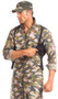 Scrumptious Sergeant Major costume includes camouflage jumpsuit with zipper front and patches including US flag. Holster also included. Two piece set.