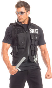 Sumptuous SWAT costume includes short sleeve shirt and utility vest with zipper front, multiple pockets, and SWAT print on both front and back sides. Two piece set.