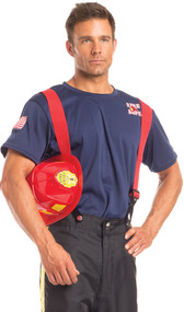 Fierce Firefighter costume includes short sleeve shirt with patches, pants with side stripes, and adjustable suspenders. Three piece set.