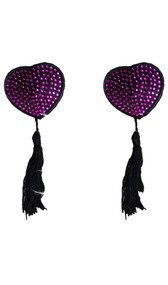 Bedazzled heart shaped pasties with tassel detail. Self adhesive. Pair.