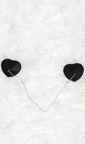 Studded heart shaped pasties with connecting chain detail. Self adhesive. Pair.